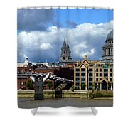 Thames River Panorama Shower Curtain