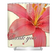Thank You Card - Pink Lily Shower Curtain