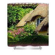 Thatched Cottage With Pink Flowers Shower Curtain