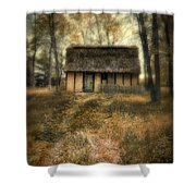 Thatched Roof Cottage In The Woods Shower Curtain