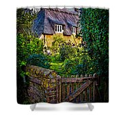 Thatched Roof Country Home Shower Curtain