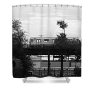 The 7 Line In Black And White Shower Curtain
