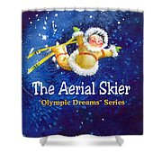 The Aerial Skier - Book Cover Shower Curtain