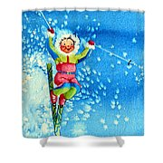 The Aerial Skier 12 Shower Curtain by Hanne Lore Koehler