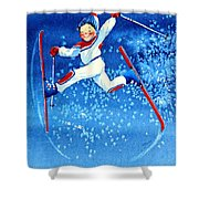 The Aerial Skier 16 Shower Curtain