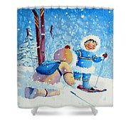 The Aerial Skier - 5 Shower Curtain by Hanne Lore Koehler