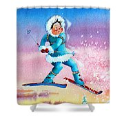 The Aerial Skier - 8 Shower Curtain