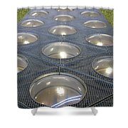 The Alien Space Base Shower Curtain