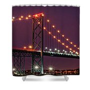 The Ambassador Bridge At Night - Usa To Canada Shower Curtain by Gordon Dean II