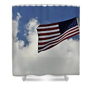 The American Flag Blowing In The Breeze Shower Curtain