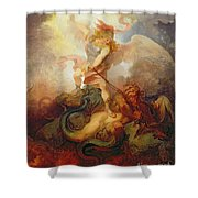 The Angel Binding Satan Shower Curtain by Philip James de Loutherbourg