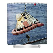 The Apollo 8 Capsule Being Hoisted Shower Curtain