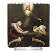 The Appearance Of Christ At Emmaus Shower Curtain