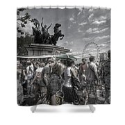 The Attack Of The Zombie Tourists Shower Curtain