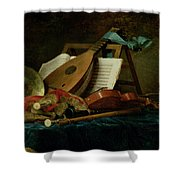 The Attributes Of Music Shower Curtain by Anne Vallaer-Coster