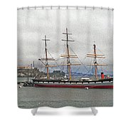 The Balclutha Ship And Alcatraz Island Shower Curtain