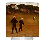 The Ball Players Shower Curtain by William Morris Hunt