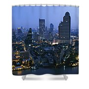 The Bangkok Skyline At Dusk Shower Curtain