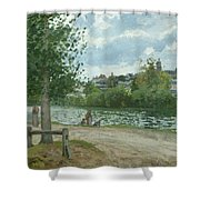 The Banks Of The Oise At Pontoise Shower Curtain