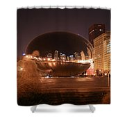 The Bean On A Winter Night Shower Curtain