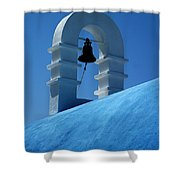 The Bell Tower In Mykonos Shower Curtain