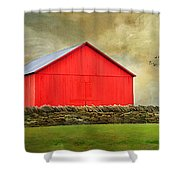 The Big Red Barn Shower Curtain by Darren Fisher