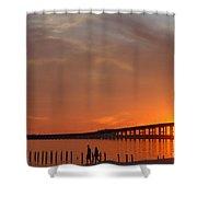 The Biloxi Bay Bridge At Sunset Shower Curtain