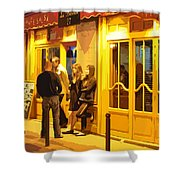 The Bistro At Night Shower Curtain