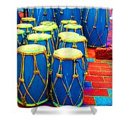 The Blue Drums Shower Curtain
