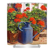 The Blue Watering Can Shower Curtain by Anthony Rule