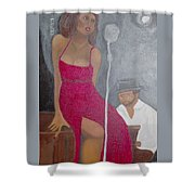 The Blues Singer Shower Curtain