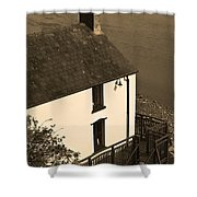 The Boathouse At Laugharne Sepia Shower Curtain