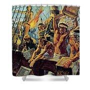 The Boston Tea Party Shower Curtain by Luis Arcas Brauner