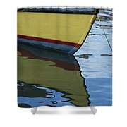 The Bow Of An Anchored, Striped Boat Shower Curtain