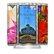 The Buffalo And Erie County Botanical Gardens Triptych Series With Text Shower Curtain