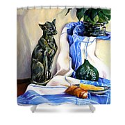 The Cat And The Cloth Shower Curtain