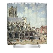 The Church Of Saint Jacques In Dieppe Shower Curtain by Camille Pissarro