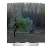 The Circle Green - Tree By The River Shower Curtain