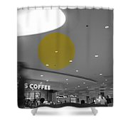 The Circle Yellow - Traveling In Need Of A Cup Shower Curtain