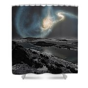 The Collision Of The Milky Way Shower Curtain by Ron Miller