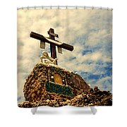 The Cross In The Grotto In Iowa Shower Curtain