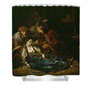 The Death Of Lucretia - Mid 1640s  Shower Curtain by Harmensz van Rijn Rembrandt