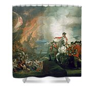 The Defear Of The Floating Batteries At Gibraltar Shower Curtain