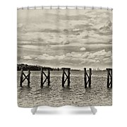 The Disappearing Pier Shower Curtain