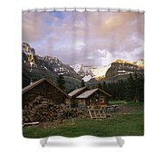 The Elizabeth Parker Hut, A Log Cabin Shower Curtain