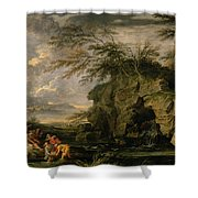 The Finding Of Moses Shower Curtain by Salvator Rosa