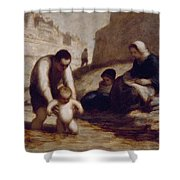 The First Bath  Shower Curtain by Honore Daumier