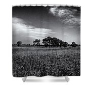 The First Homestead In Black And White Shower Curtain
