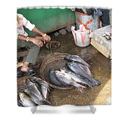 The Fish Seller Shower Curtain