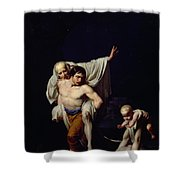 The Flood Shower Curtain by Jean-Baptiste Regnault